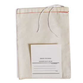Reclosable Fabric Bag: Drawstring, Mailing Bag with Tag, 4 in Wd, 6 in Lg, 12 mil Thickness, Cotton/Poly Blend, 100 PK
