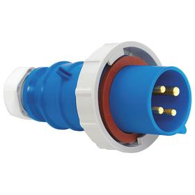 Hubbell Pin & Sleeve Plug: 3 Pins, Single Phase, 20 A Current, 250V AC, 2 Poles, Nylon, Blue Color, Brass, 2.75 in OD