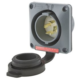Hubbell NEMA Turn-Locking Male Receptacles' General Use: 3 Poles, 4 Contacts, L16-20 NEMA Configuration, 480V AC, Gray