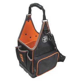 Klein Tools Square-Bottom Tool Tote: Webbed Handles & Shoulder Strap Carrying Configuration, 17 in Overall Ht, Polyester