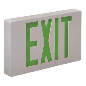 Big Beam Lighted Exit Sign: 2 Faces, Directional Indicators, Green, 8 3/4 in Overall Ht, 12 1/4 in Overall Lg, Plastic