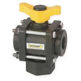 Ball Valve: Polypropylene, 1-Piece, Full Port Classification, NPT, 3/4 in Pipe Size (Port 1), 4 1/32 in Overall Lg, 150° F Max Op Temp