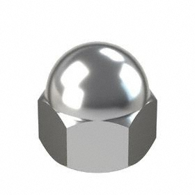 Standard Crown Acorn Nut: Steel, Nickel Plated, 10-32 Thread Size, 3/16 in Thread Dp, 27/64 in Overall Ht, 100 PK