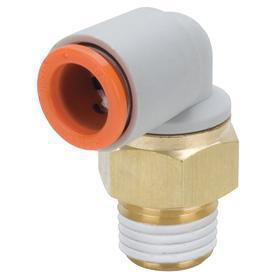 Compact Push-to-Connect 90° Elbow: Elbow Connector, Male, 1/8 in Port 1 Tube Size, 1/8 Pipe Size (Port 2), NPT