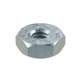 Machine Screw Hex Nut: Steel, Zinc Plated, 8-32 Thread Size, 11/32 in Wd, 1/8 in Ht, 100 PK
