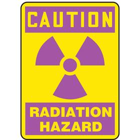 Accuform Radiation Sign: 10 in Overall Ht, 7 in Overall Wd, Aluminum, Mounting Holes, Caution, Radiation Hazard, Magenta