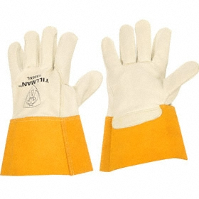 Welding Glove: Cowhide, L Size, 0.7 mm Glove Material Thickness, 12 in Glove Lg, Gauntlet Cuff, White, 1 PR
