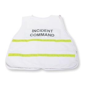 Incident Command Vest: Polyester/Cotton, White, Hook & Loop, 3 Pockets, Unisex, 38 in Max Chest Size, Adj Waist Straps