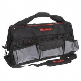 Wide-Mouthed Tool Bag: 14 in Overall Ht, 22 in Overall Lg, 11 Total # of Pockets, 12 in Overall Wd, Zipper, Polyester