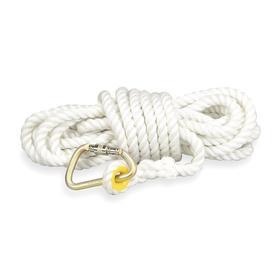 Honeywell Miller Rope Lifeline: 30 ft Lifeline Lg, Nylon, 5/8 in Lifeline Dia, 310 lb Max Load Capacity, Carabiner