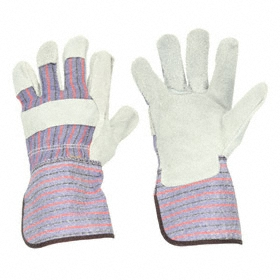 General-Use Work Glove: Fabric-Backed Leather Palm Glove, L Size, Cowhide, Gauntlet Cuff, Gray, 1 PR