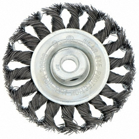 Deburring Wheel Brush: Knotted - Std Twist, Threaded Arbor, Steel, 4 in Brush Dia, M10 Center Hole Thread Size, 0.02 in Bristle Dia, 7/8 in Bristle Lg