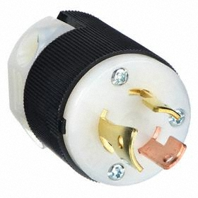 Hubbell Non-NEMA Turn-Locking Plug General Use: 3 Contacts, 10 A Current, 125/250V AC, Single Phase, Nylon, Black