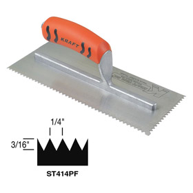 Trowel for Wood Flooring: For Spreading Adhesive, 11 in Blade Lg, 4 1/2 in Blade Wd, V Notch, 1/4 in Notch Wd, Steel