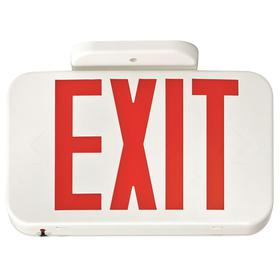 Acuity Lithonia Lighted Exit Sign: 2 Faces, Directional Indicators, Red, 7 1/4 in Overall Ht, 11 5/8 in Overall Lg