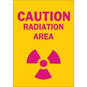 Radiation Sign: Caution, 10 in Overall Ht, 7 in Overall Wd, Plastic, Mounting Holes