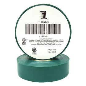 Electrical Tape: Green Backing, Vinyl Backing, Vinyl Adhesive, For 600 V, 3/4 in Overall Wd, 0.007 in Overall Thickness