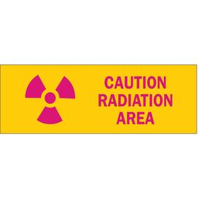 Brady Radiation Sign: 3 1/2 in Overall Ht, 10 in Overall Wd, Polyester, Self-Adhesive, Caution, Radiation Area, Yellow