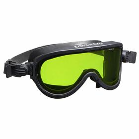 NSA Safety Goggle: Green Lens, Anti-Fog, Ventless, Polycarbonate Lens, Silicone Frame, Silicone Strap, ASTM 2178