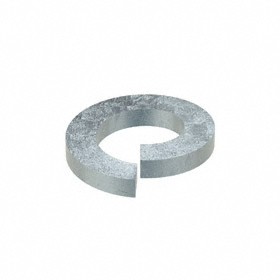 Split Lock Washer: Steel, Zinc Plated, For No. 8 Screw Size, 0.174 in Max ID, 0.293 in Max OD, 0.04 in Thickness, 100 PK