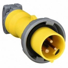 Hubbell IEC Non-Metallic Watertight Pin & Sleeve Plug: Single Phase, 3 Contacts, 60 Hz Volt Freq, 20 A Current, 120V AC