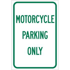Brady Parking Sign: Motorcycle Parking Only, 18 in Overall Ht, 12 in Overall Wd, Aluminum, High Intensity