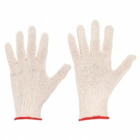 Work Glove: Fabric Glove, L Size, Knit Cuff, Cotton, Cream, 1 PR