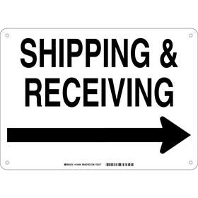 Brady Shipping & Receiving Sign: 10 in Overall Ht, 14 in Overall Wd, Aluminum, Mounting Holes, White, Black, English