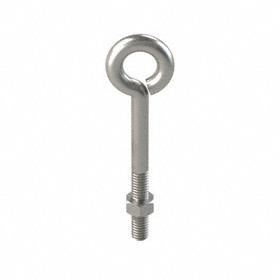"""Eye Bolt for Routing: Steel, Wire Turned Closed, Without Shoulder, Plain, 5/16""""-18 Thread Size, 3 in Shank Lg, 5 PK"""