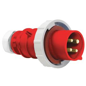Hubbell Pin & Sleeve Plug: 4 Pins, Three Phase, 30 A Current, 480V AC, 3 Poles, Nylon, Red Color, 5 hp Horsepower, Brass
