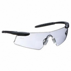 Safety Glasses: Gray, Wraparound Frame, Anti-Fog/Scratch Resistant, Black, ANSI Z87.1-2010, Nylon, Gen Impact Purpose