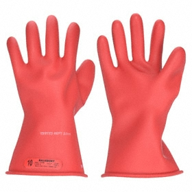 Honeywell Electrical-Insulating Glove: 0 ASTM Class, 7 Size, Unmarked, 1000 V AC Max Use Volt, Natural Rubber, Red, 1 PR