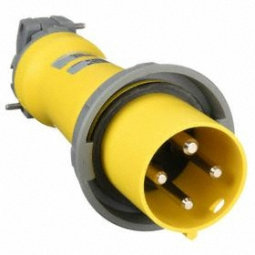 Hubbell IEC Non-Metallic Watertight Pin & Sleeve Plug: Single Phase, 4 Contacts, 60 Hz Volt Freq, 100 A Current, 3 Poles