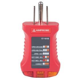 Amprobe Receptacle Tester: 110 V AC Min Input Volt, 125 V AC Max Input Volt, Visual, 1 Red/2 Amber
