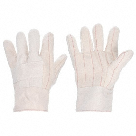 Heat-Resistant Glove: Fabric Glove, 275° F Max Temp, 10 1/2 in Glove Length, Safety Cuff, Canvas, White, XL Size, 1 PR