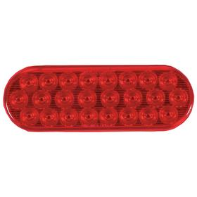 Permanent Mount Vehicle Warning Light: Round, 6 3/8 in OD, Red, 12.8 V DC Volt, 0.05 A Current