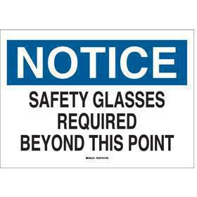 Brady Personal Protective Equipment Sign: Notice, 10 in Overall Ht, 14 in Overall Wd, Plastic, Mounting Holes