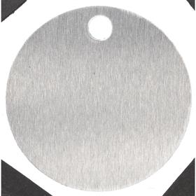 Round Blank Metal Tag: 1 in Overall Dia, 1/16 in Thickness, 3/16 in Hole Dia, Silver, 100 PK