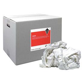 Cloth Rag: Cotton T-Shirt, Recycled, White, Prewashed, 25 lb Size, Box
