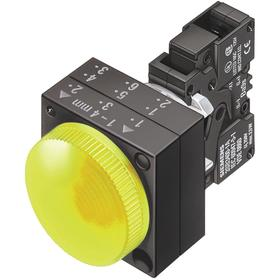 Siemens Pilot Light Complete Unit: 110V AC, Metal, Yellow, Screw Terminal, AC Current Type, For LED, For 110 V AC, LED