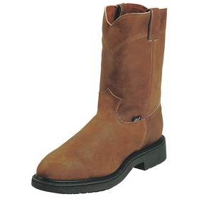 Chemical Resistant Work Boot: Western Boots, 2E Shoe Wd, 13 Men's Size, Men, Steel, 10 in Shoe Ht, Leather, Brown, 1 PR