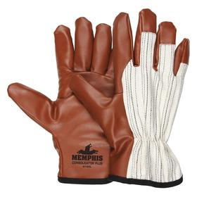 MCR Coated Glove: 3/4 Dip, Jersey, Slip-On-Open Cuff, Nitrile, Smooth, Burgundy/White, L Size, Jersey/Nitrile, 1 PR
