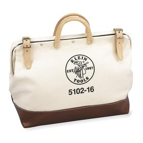 Klein Tools Wide-Mouthed Tool Bag: 14 in Overall Ht, 16 in Overall Lg, 6 in Overall Wd, Clasp, Canvas, Tan/Dark Brown