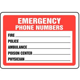 Accuform Emergency Contact Sign: 7 in Overall Ht, 10 in Overall Wd, Plastic, Mounting Holes, English, Red/White