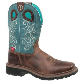 Tony Lama Leather Work Boot: Women, Composite, 10 in Shoe Ht, Teal, Brown, Chemical Resistant/Waterproof, Electrical Hazard Rated, Wide Toe Cap, 1 PR
