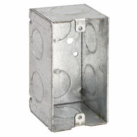 Hubbell Wall Switch & Outlet Electrical Box: Zinc, 16.5 cu in Capacity, 2 in Overall Wd, 4 in Overall Ht, Silver, Welded
