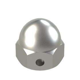 "Self-Locking Acorn Nut: 18-8 Stainless Steel, 5/16""-18 Thread Size, 5/16 in Thread Dp, 17/32 in Overall Ht, 10 PK"