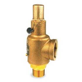 Circor Safety Relief Valve: Bronze, 1 1/2 in Inlet Size, NPT, 150 psi Factory Set Pressure, 9 11/16 in Overall Lg, PTFE
