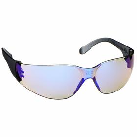 Gateway Safety Safety Glasses: Blue Mirror, Frameless Frame, Scratch Resistant, Gray, Polycarbonate, Unisex