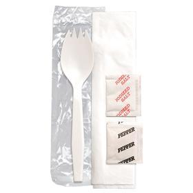 Disposable Flatware Assortment: Spork Kit, Napkin/Pepper/Salt/Spork, Medium Wt Class, White, 19 1/4 in Lg, 500 PK